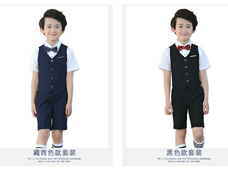 男童畢業宴會演奏背心領結西裝禮服五件套 618購物節