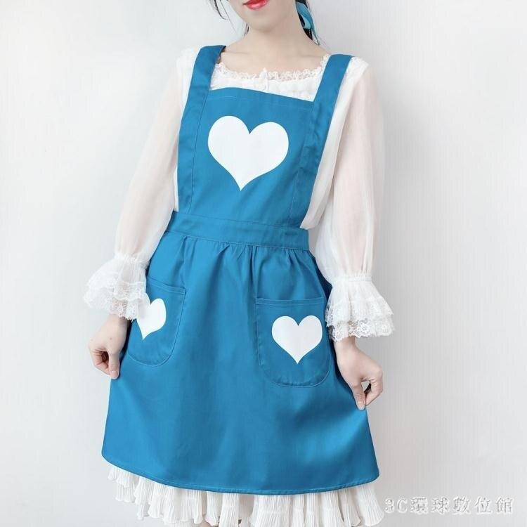 圍裙女時尚工作可愛日系韓版家用廚房男女工作服OL公主女仆圍腰紅 LR22522