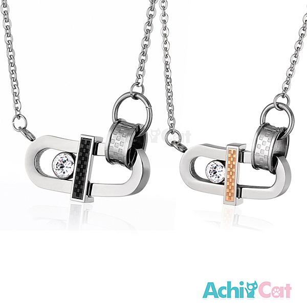 AchiCat 情侶對鍊 白鋼項鍊   永恆摯愛 單個價格 C1184