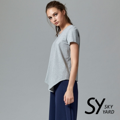 【SKY YARD 天空花園】休閒百搭短袖下擺斜長版造型上衣-灰色