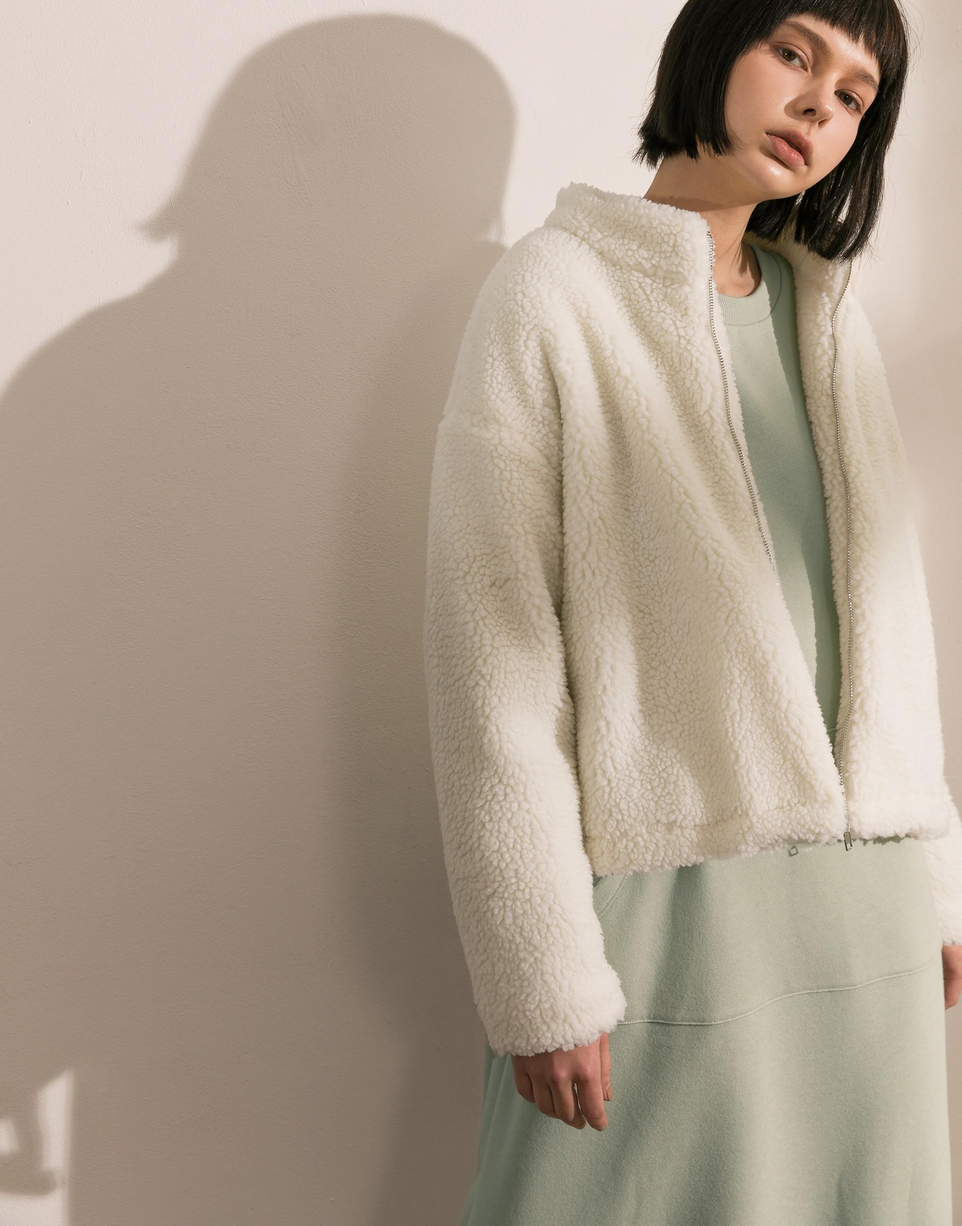 Genquo+時髦羔羊內鋪棉拉鍊外套-女