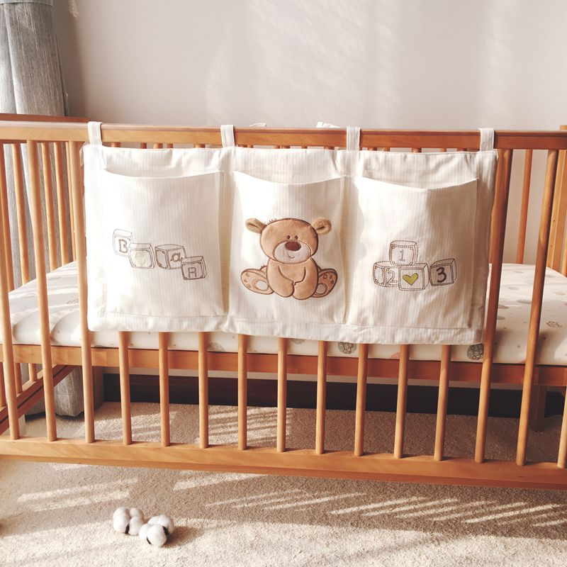 床邊掛袋 棉床收納袋掛袋寶寶床頭尿布尿片尿不濕收納床邊儲物置物袋『SS3323』