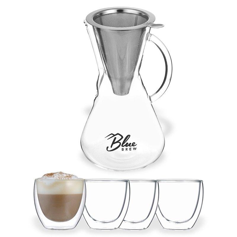 【套裝】BlueBrew 手沖咖啡壺組 600ml+雙層玻璃杯 70ml 4入 咖啡周邊 24H快速出貨 建議宅配