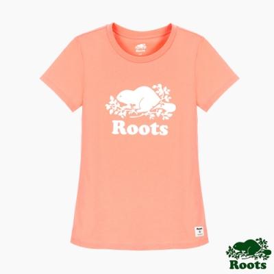 女裝Roots 炫彩霓虹短袖T恤-橘色