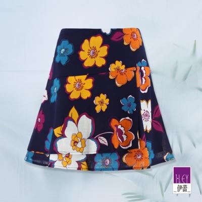ILEY伊蕾 亮麗花朵印花荷葉邊褲裙(紫)