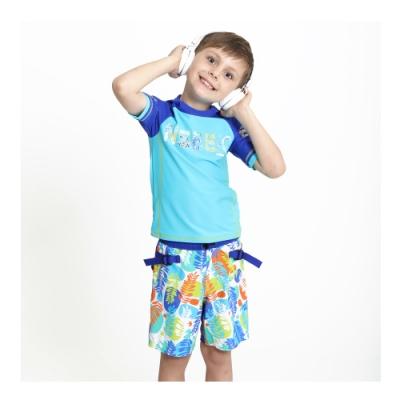 澳洲Sunseeker泳裝抗UV防曬連帽短袖泳衣泳褲兩件組-小男童-4193002AQU