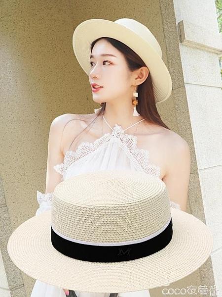 熱賣平頂帽草帽女夏天出游沙灘帽海邊遮陽防曬平頂太陽帽子M英倫百搭小禮帽【618 狂歡】