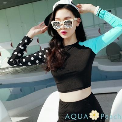長袖配色袖縮口擺水母衣兩件式泳衣-(黑色)-AQUA-Peach