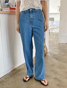 韓國空運 - Classic Blue Wide Denim Pants 牛仔褲