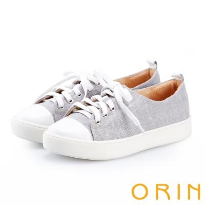 ORIN 百搭素面綁帶平底帆布鞋 灰色