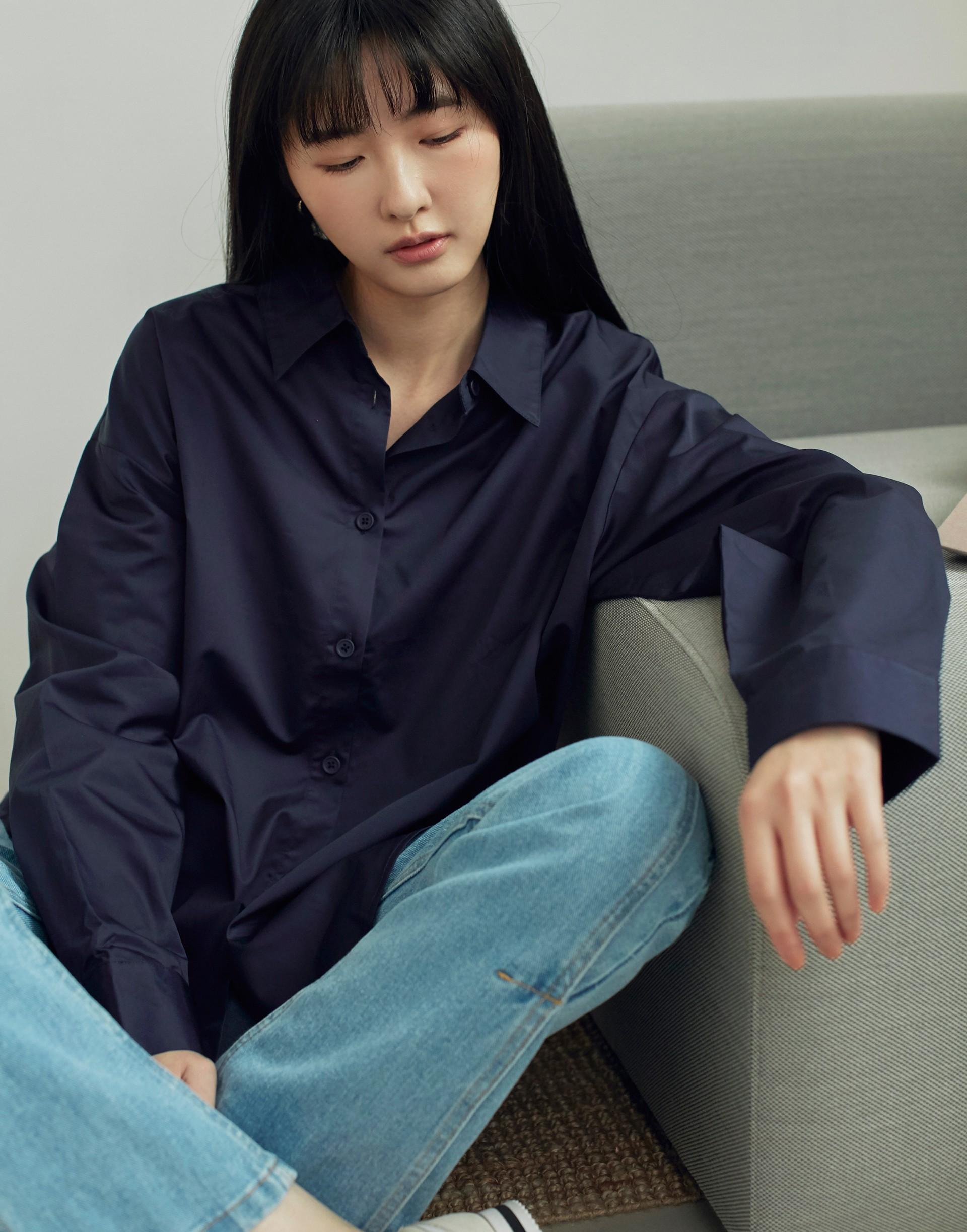 Genquo+質感深色系韓版襯衫-女