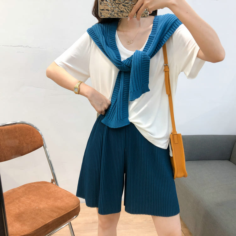 【missy shop】潺潺流水短褲-6352288