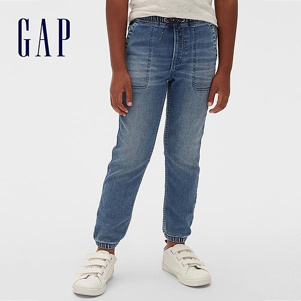 Gap男童 時尚水洗鬆緊牛仔褲 536568-中度水洗