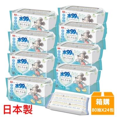 日本LEC 新款迪士尼米奇米妮-純水99%濕紙巾箱購-80抽x24包入