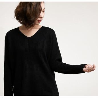 ニット・セーター - PlusNao セーター ニット Vネック あぜ編み レディース トップス 長袖 ゆるニット シンプル 無地 ゆったり 体系カバー