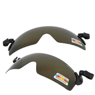 【Docomo】高效能夾帽式眼鏡 專業級100%寶麗來偏光鏡片 各種帽體都專用 超防紫外線 提供全方位防護