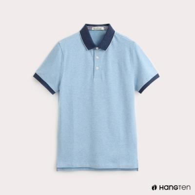 Hang Ten-男裝-領片跳色彈性POLO衫-藍