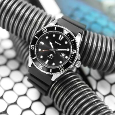 CASIO 卡西歐 潛水 槍魚系列 黑水鬼 防水200米 日期 手錶 黑色 MDV-106-1A 44mm