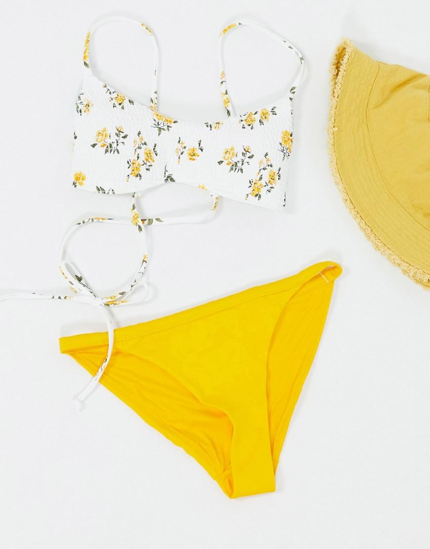 Weekday Ava recycled polyester tanga bikini bottom in orange