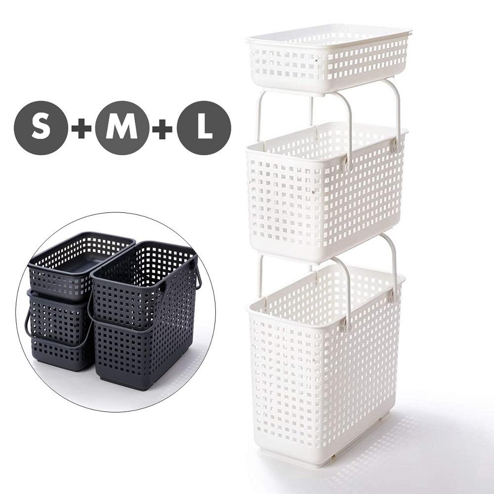 日本Like-it [窄款]隙縫型多功能可堆疊含蓋收納籃 洗衣籃(三層組)