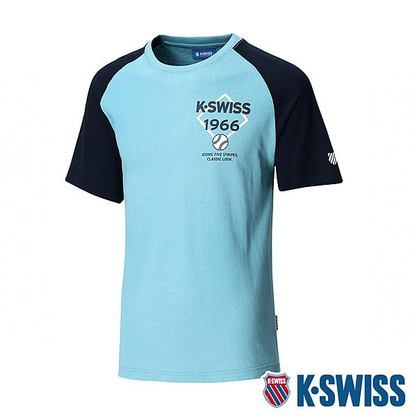 K-SWISS Raglan Tee印花短袖T恤 男 綠 藍