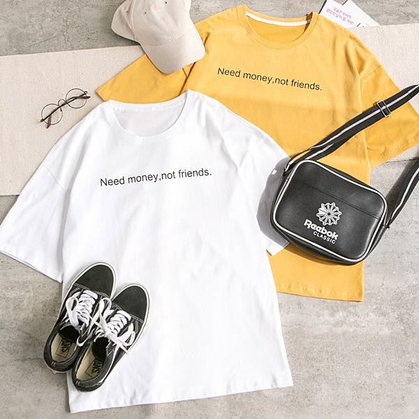 MUMU【T04855】英文短句印花寬鬆長版上衣。白/黃