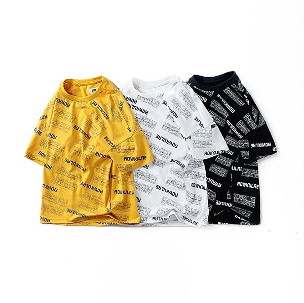 衣童趣↘韓版中大男童 夏日百搭短袖T恤 字母印花短袖上衣