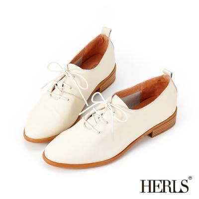 HERLS牛津鞋-全真皮素面綁帶橢圓頭牛津鞋-米白色