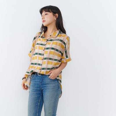 慢 生活 復古色調格子薄款棉料襯衫- 黃色