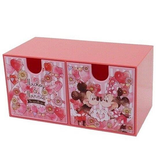 小禮堂 迪士尼 米奇米妮 抽屜盒 橫式 雙抽 塑膠 收納盒 飾品盒 置物盒 文具盒 (粉 氣球) 4548626-09569