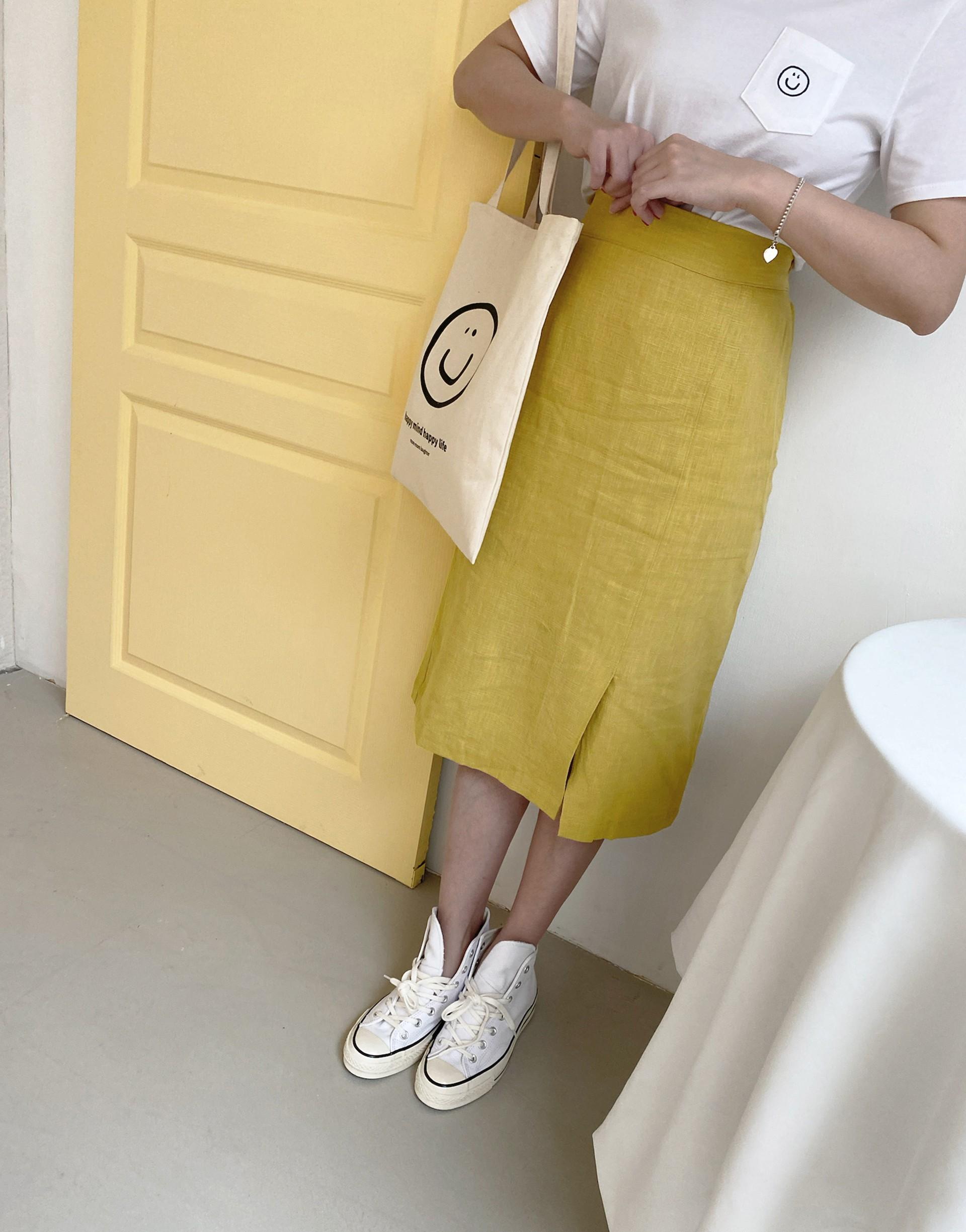 下開岔造型棉麻中長裙-PAZZO