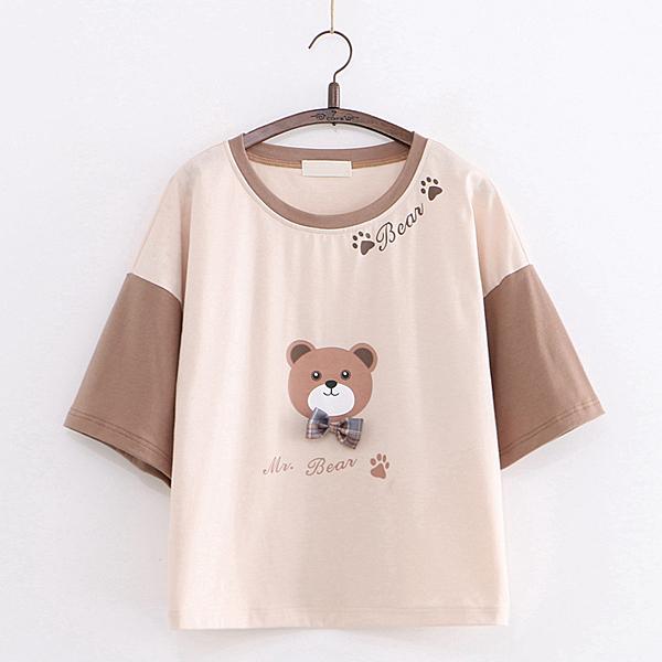 *ORead*學院風領結熊印花短袖T恤上衣(卡其色F碼)