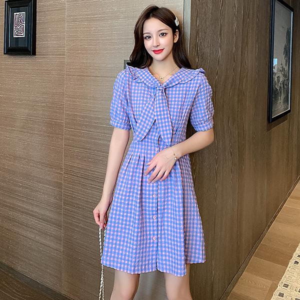 VK精品服飾 韓國風浪漫紫色格紋ins海軍領短袖洋裝