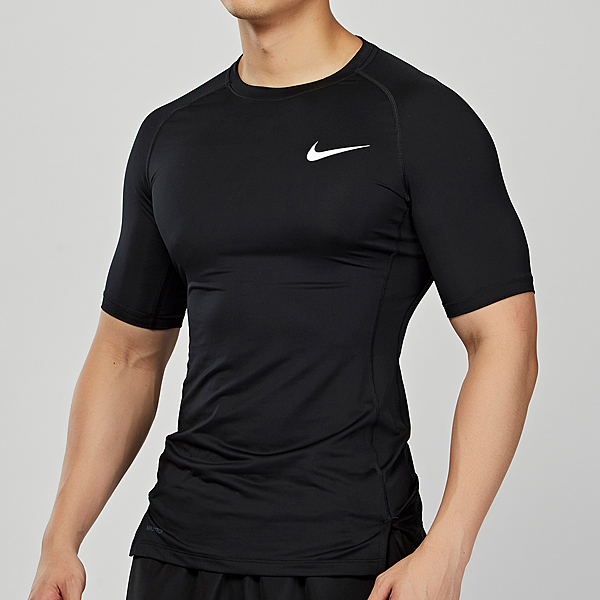 Nike AS M NP TOP SS TIGHT 男子 黑色 緊身 訓練 運動 短袖 BV5632-010