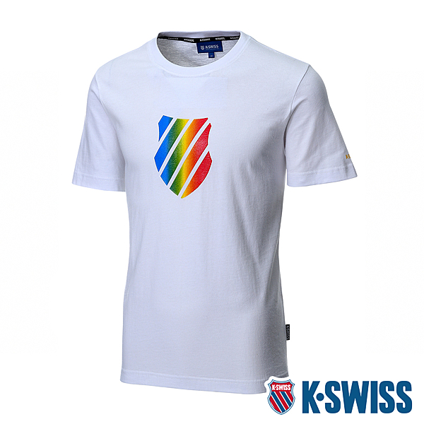 K-SWISS Neon Shield Logo Tee印花短袖T恤 男  白