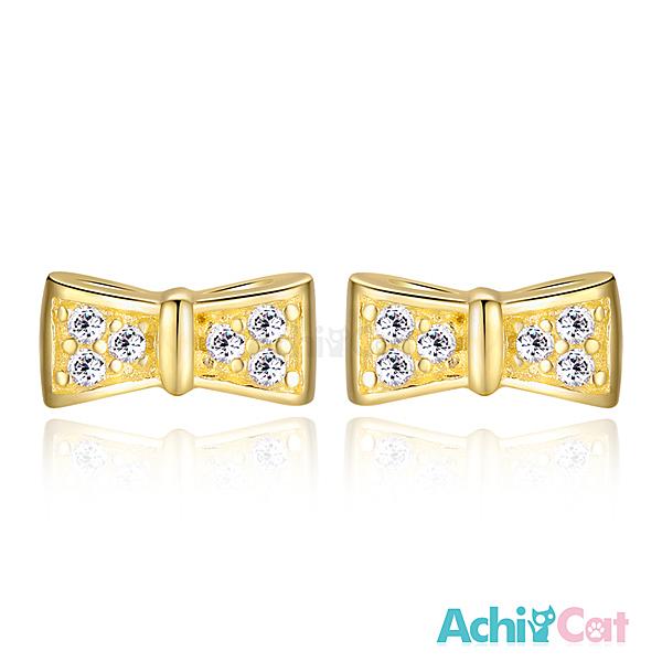 AchiCat女款小耳釘925純銀耳環 耳針式 可愛領結 蝴蝶結你 (金色款單副) GS5034