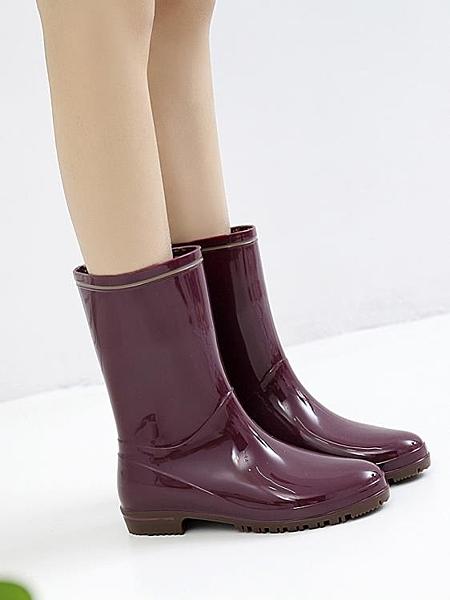 雨鞋 日式雨鞋女中筒雨靴時尚款水靴水晶防水工作膠鞋外穿防滑水鞋套鞋 瑪麗蘇