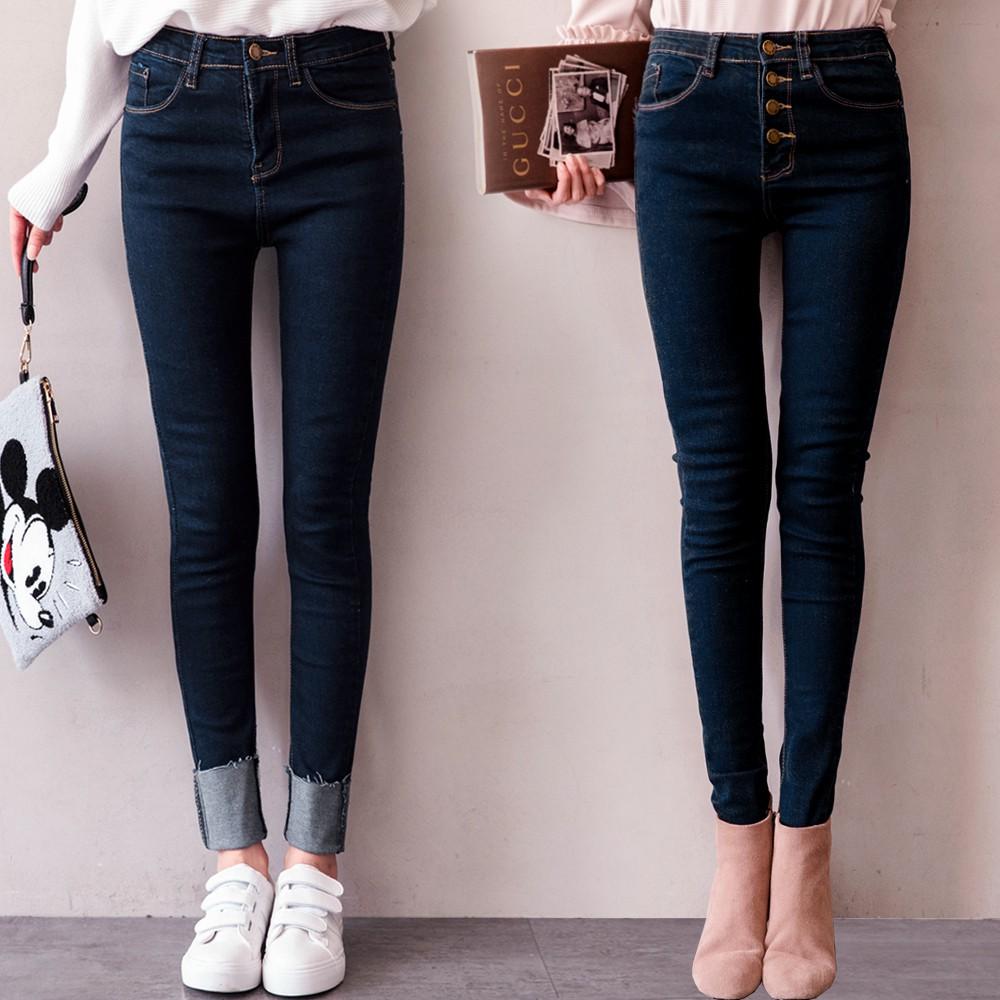 MIUSTAR 完美貼腿 原色牛仔黃車線單釦排釦窄管褲(共2色,S-L)長褲 0323 預購【NJ0660EP】