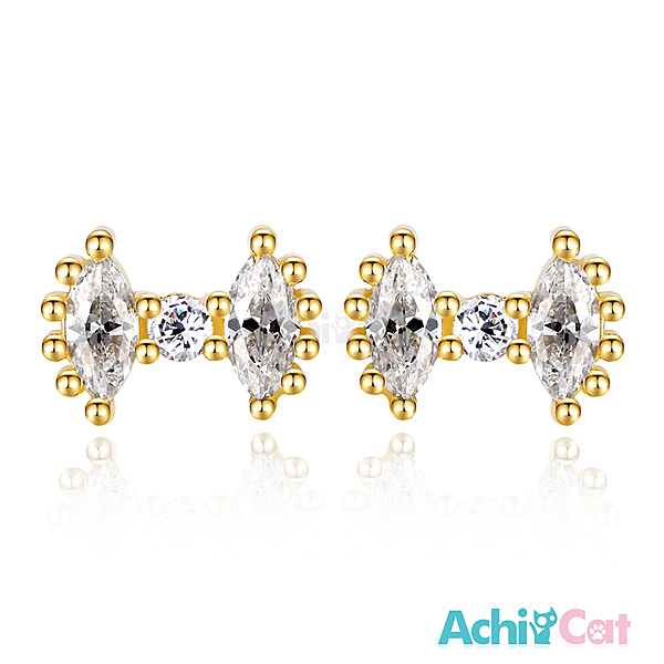 AchiCat女款小耳釘925純銀耳環 耳針式 華麗領結 韓版迷你(金色款單副)GS5036
