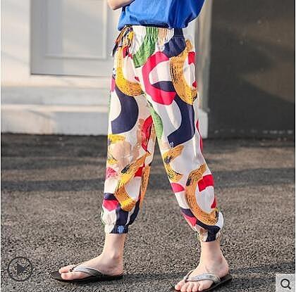 褲子 2020新款兒童防蚊褲男女童薄款夏裝寶寶夏季洋氣休閒棉綢燈籠褲子