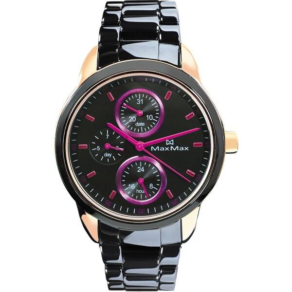 Max Max MAS7003S-5 時尚三眼中性黑陶瓷腕錶 /37mm