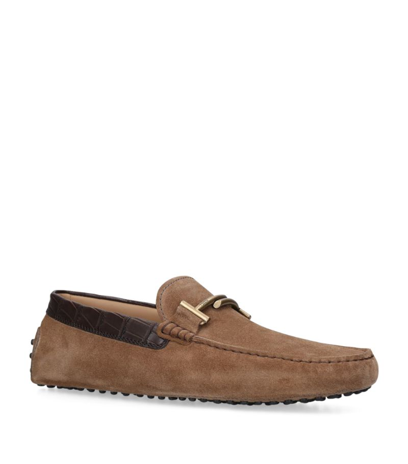 Tod'S Alligator-Trim Suede Gommino Driving Shoes