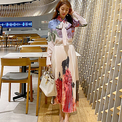 套裝兩件套女7881#兩件套韓版高端蝴蝶結系帶印花襯衫時尚百褶裙套裝NE49快時尚