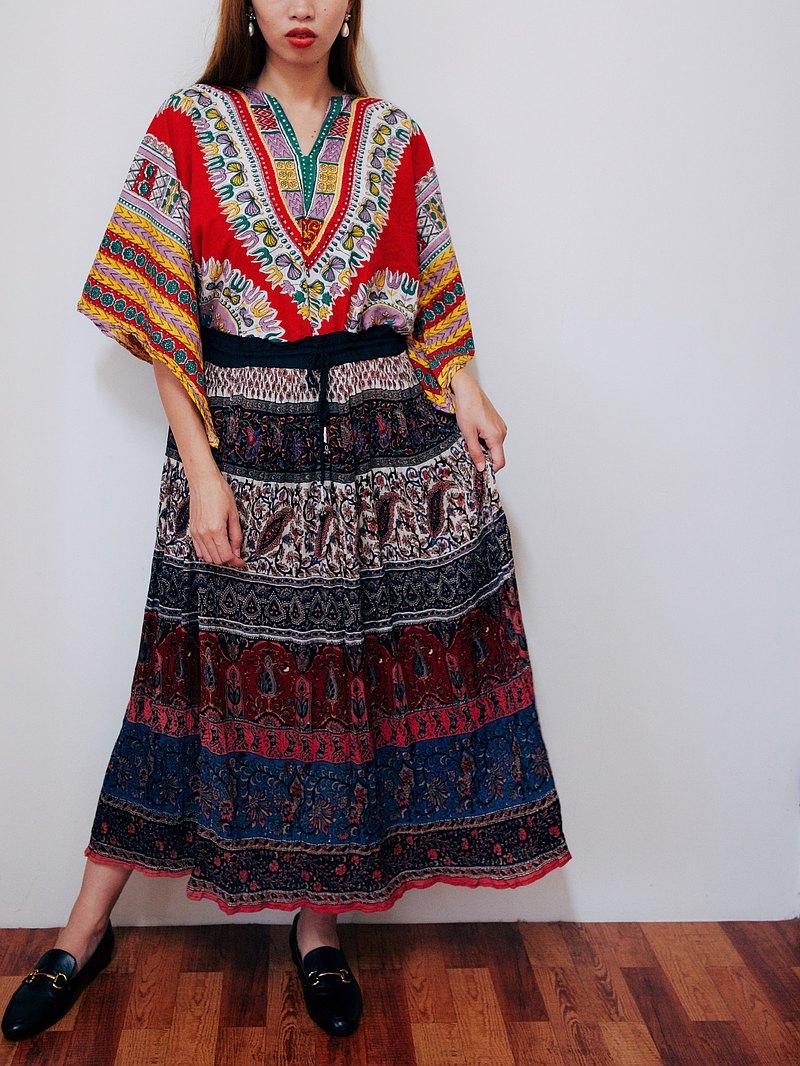 Vintage 印度綁帶裙 民族拼花