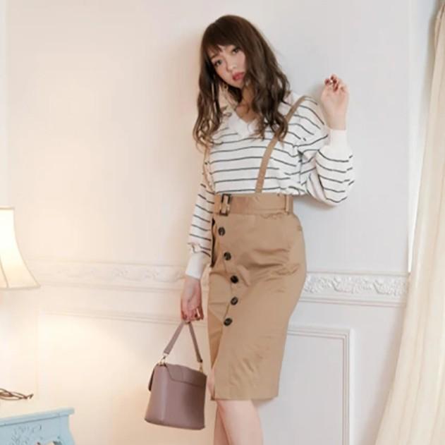 LIP SERVICE【V0126-001】不對稱口袋排釦設計吊帶裙(3色)