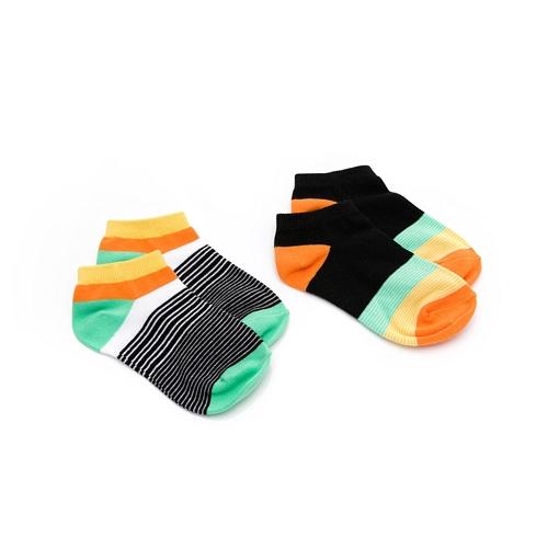 GIORDANO 童裝繽紛撞色短襪(兩雙入)-01 標誌黑x奶油黃 03150007