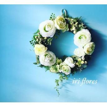 ︎8種のフレッシュグリーンリース ︎ラナンキュラス×紫陽花×ハーブ ︎白 結婚式 ウエルカムスペース ナチュラル