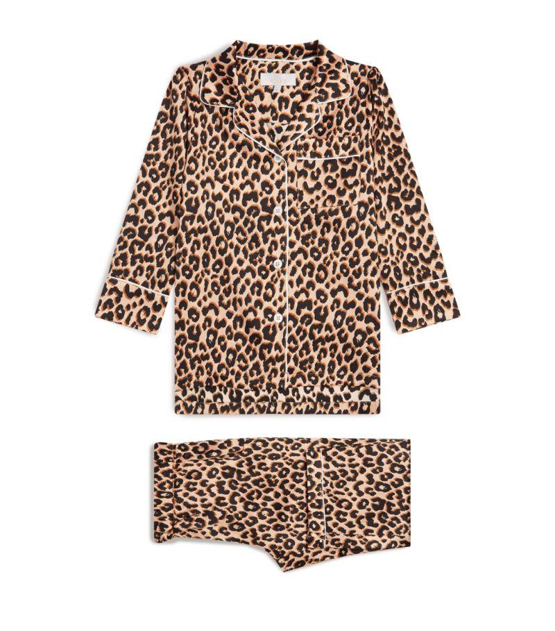 Little Yolke Leopard Print Satin Pyjama Set