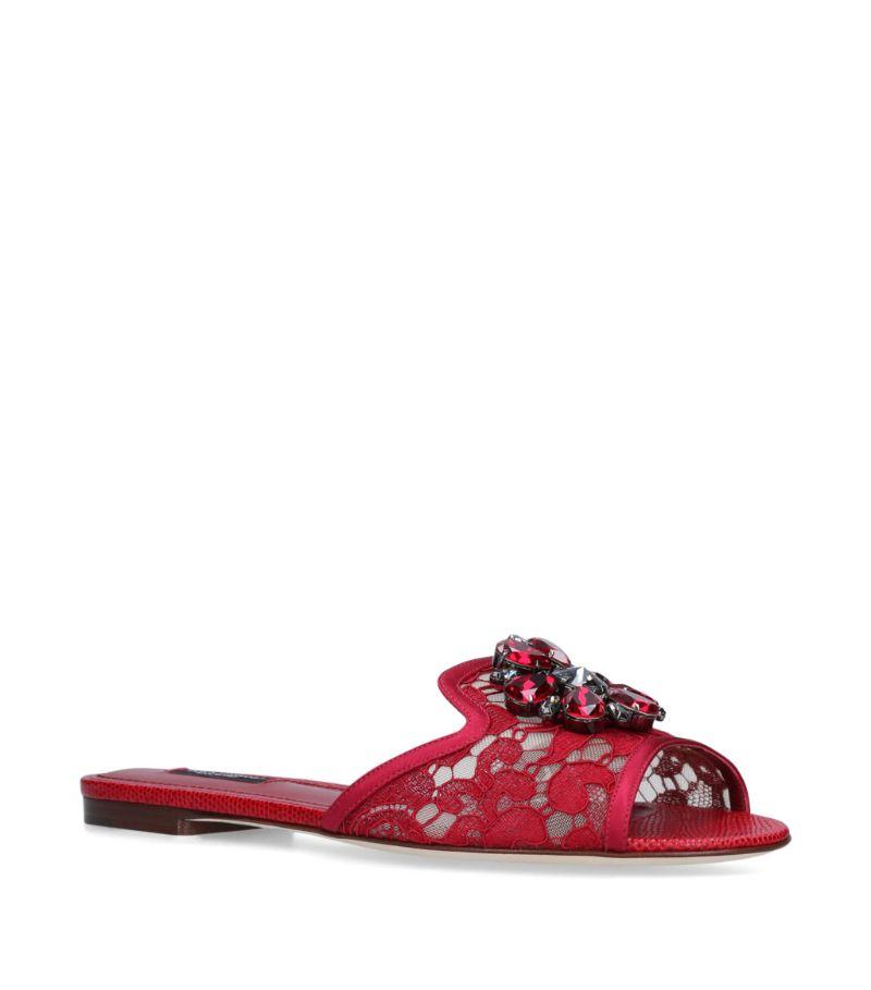Dolce & Gabbana Bejewelled Bianca Slides
