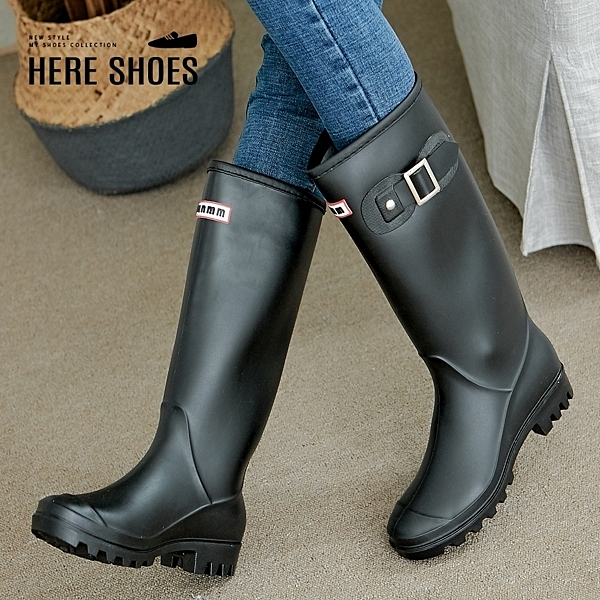 [Here Shoes]雨靴-筒高32cm 百搭長筒基本款簡約扣環防水長靴 雨天必備靴款 雨鞋-KNG1975